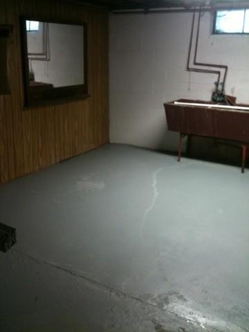 painting the basement floor pretty purple door