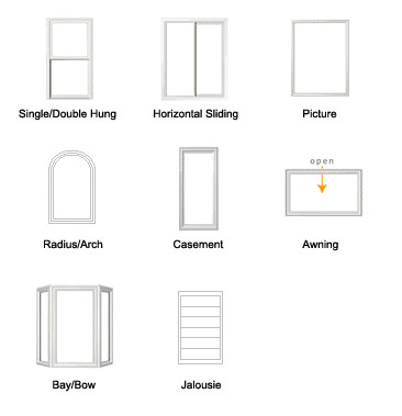 drawings of 8 window configurations