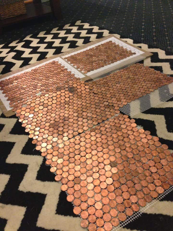 How to make a floor out of real pennies with a penny floor for Copper tile pennies