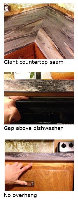 """Here are some photos of my """"bad"""" countertop. All of these problems were remedied with the reinstall, but held up my schedule for over 8 weeks."""