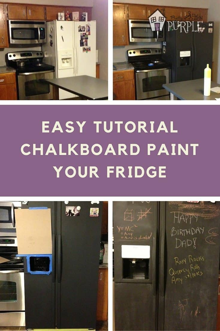 Chalkboard refrigerator diy tutorial pretty purple door for Diy chalk paint problems