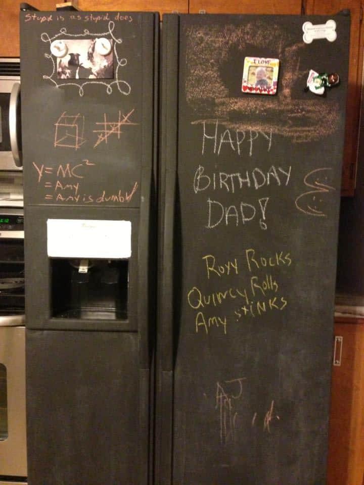 Chalkboard Refrigerator, PrettyPurpleDoor.com