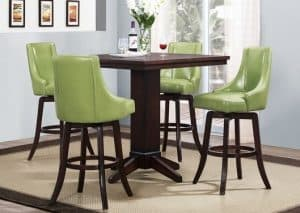 Vella 5 piece Dining Set with 29 inches high Green Chairs