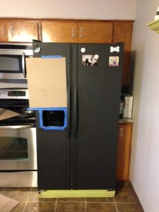 Chalkboard Refrigerator after 2 coats of chalkboard paint