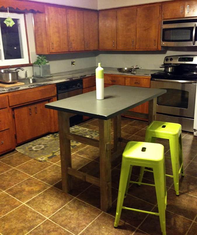 Green Kitchen Stools: DIY Mixed Wood Island Top