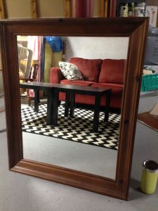 Original Mirror with Wood Finish