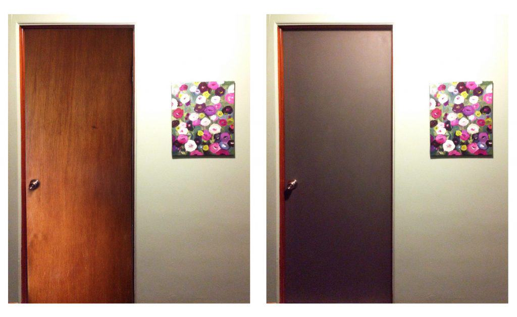 before and after view of the waxed chalk painted bathroom door. Black Bedroom Furniture Sets. Home Design Ideas