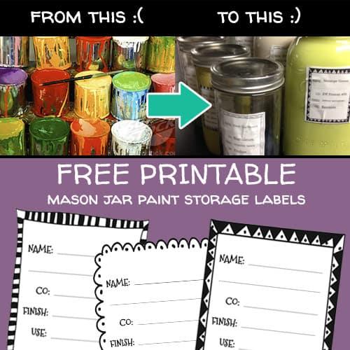 Free printable mason jar paint storage labels