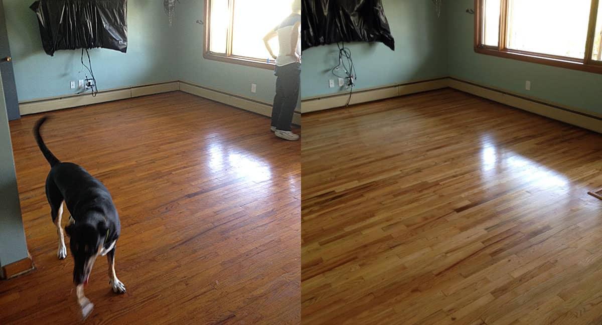 refinishing hardwood floors: living room