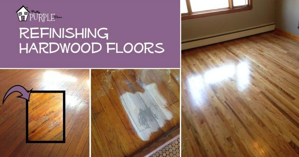 Refinishing hardwood floors PrettyPurpleDoor.com