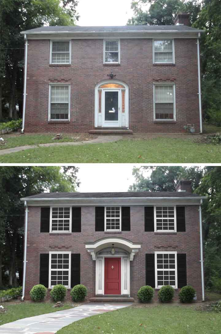 10 before and after curb appeal photos pretty purple door for Change exterior of house