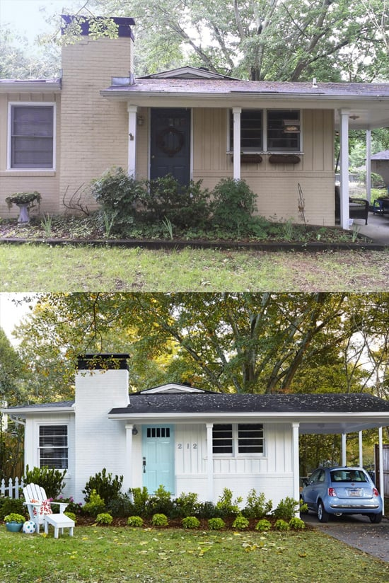10 before and after curb appeal photos pretty purple door for Before after exterior 1930