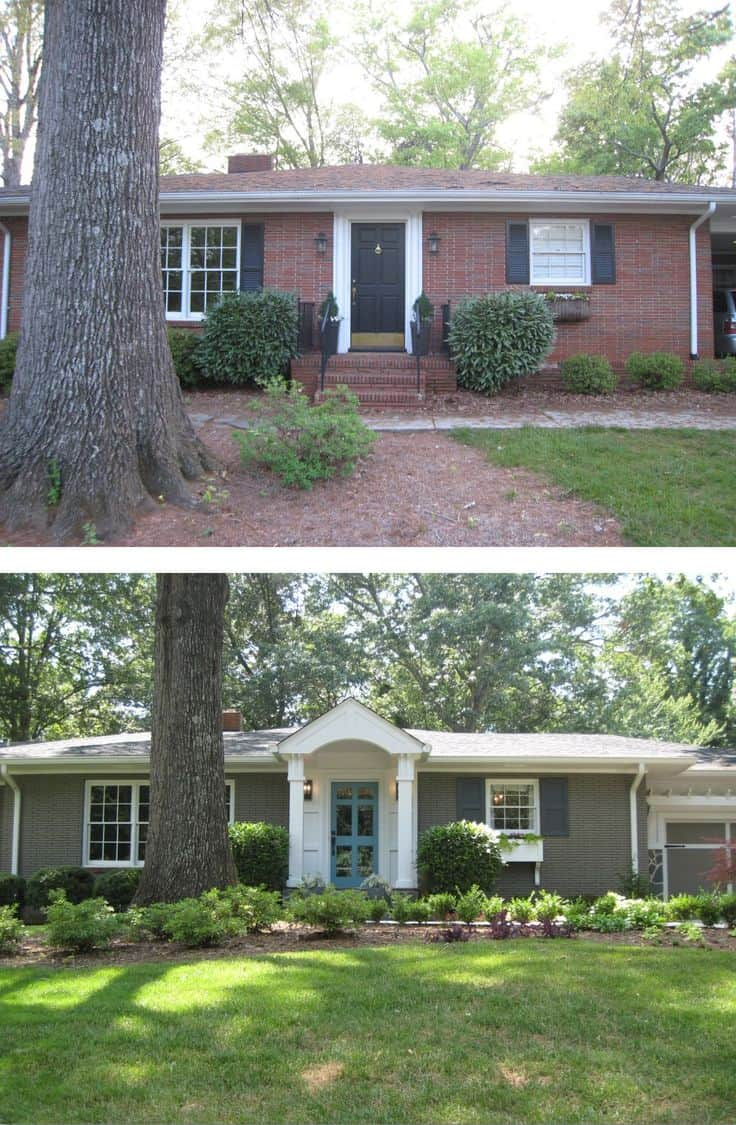 10 before and after curb appeal photos pretty purple door for Exterior renovations before and after