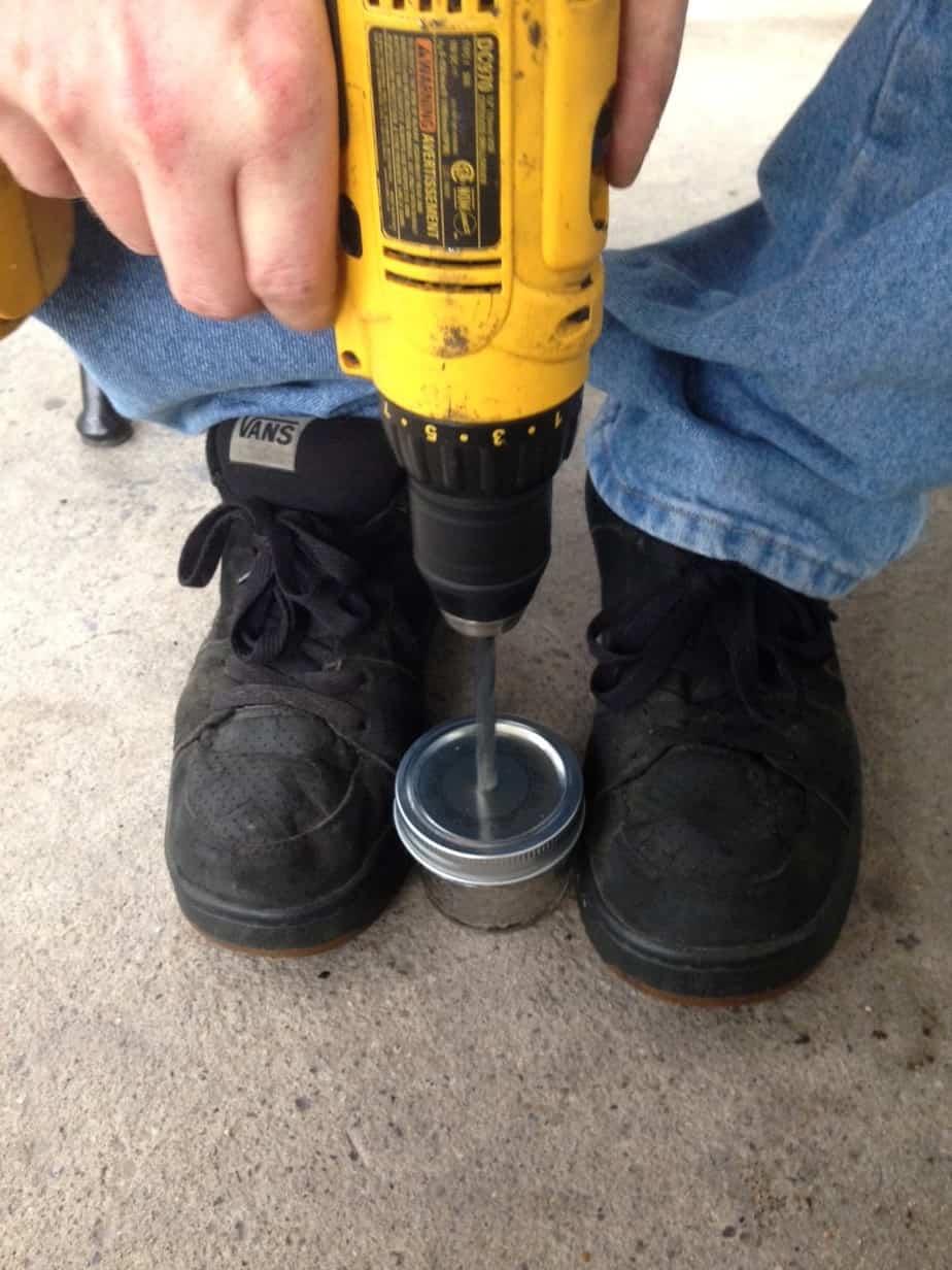 drill hole in top solar mason jar light