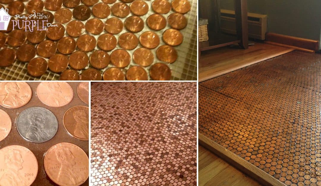 Make A Floor Out Of Real Pennies Step By Step Pretty Purple Door