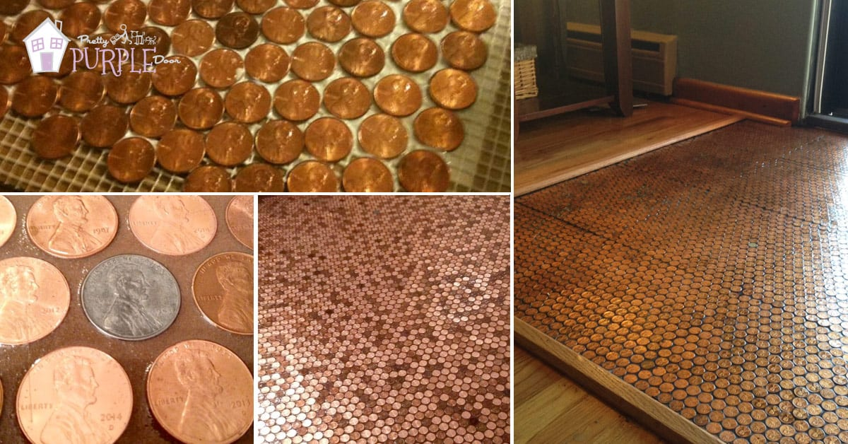 Make a Floor out of real pennies with a penny floor template