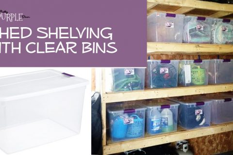 Shed Shelving Using Bins For Organization