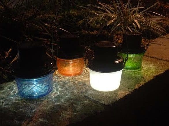 Paint Mason Jars at night with solar lights