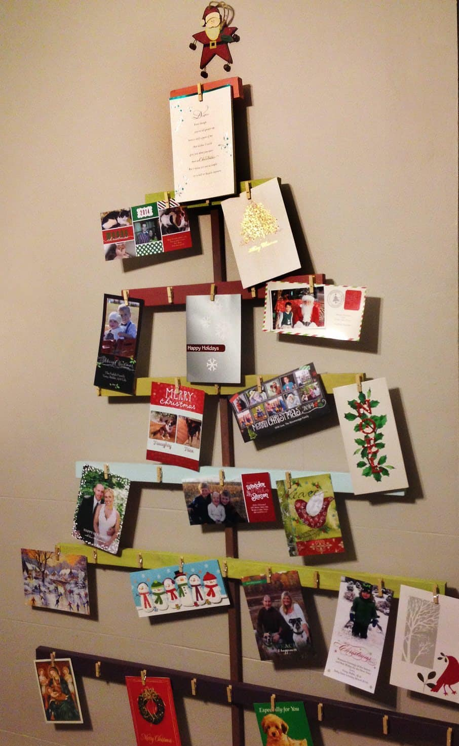 diy christmas tree card holder for your wall