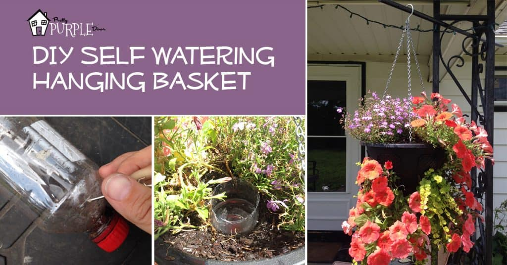 DIY Self Watering Hanging Basket by PrettyPurpleDoor.com