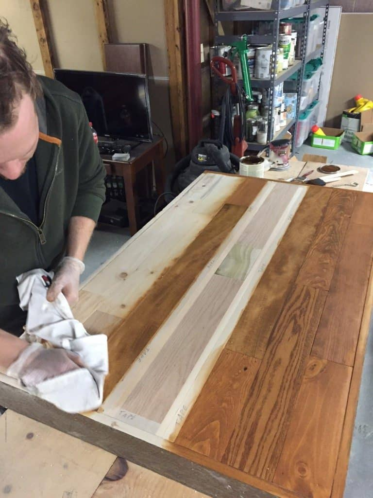 Staining the Mixed Wood Island Top by PrettyPurpleDoor.com