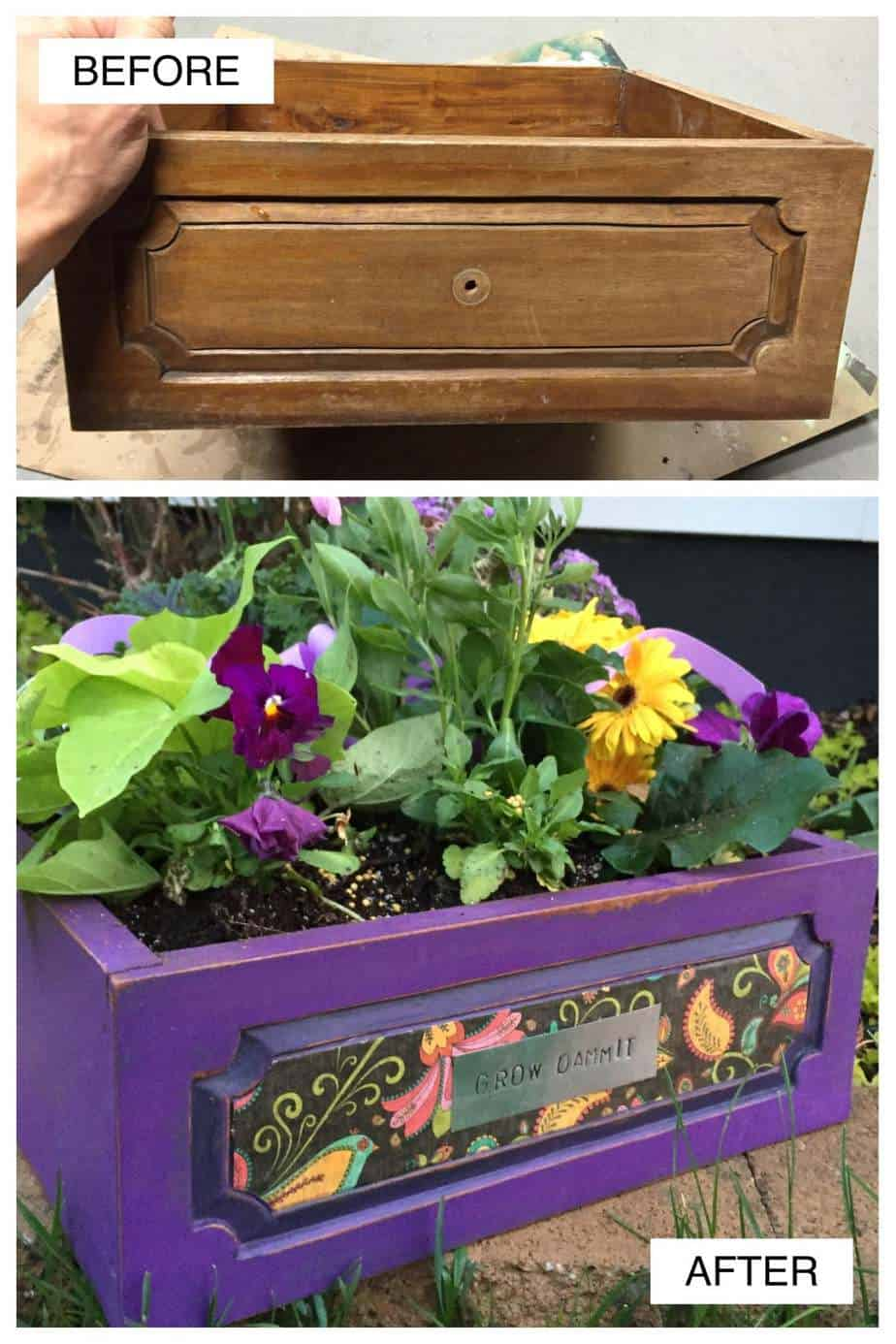 Before & After Planters from Old Drawer Cool DIY Projects