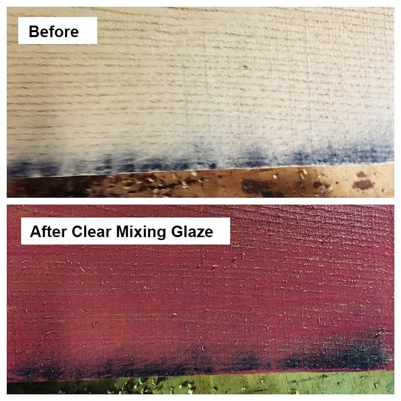 Staining wood with color: Before and After Clear Mixing Glaze