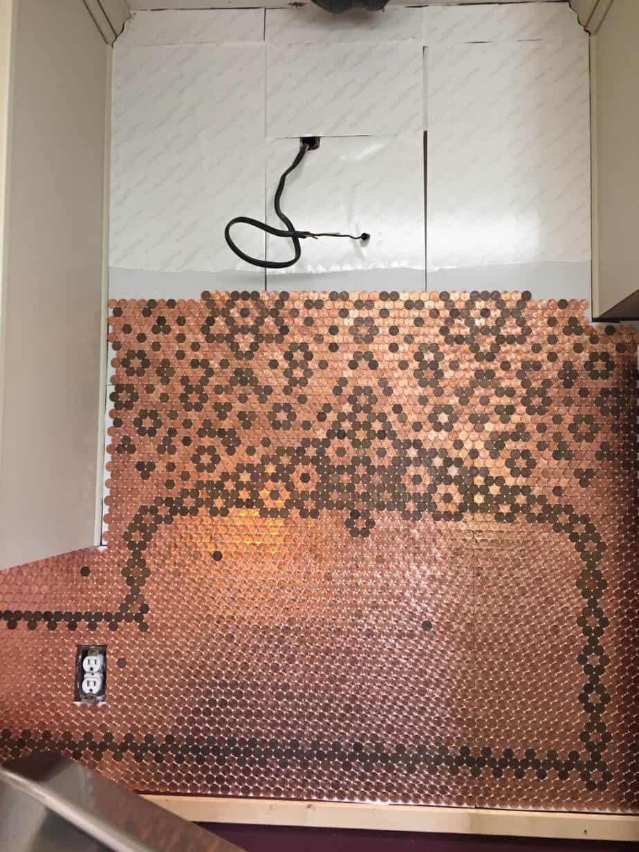 Unique penny tile backsplash images metallic mosaic for Copper penny tile backsplash