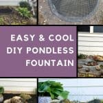 Photos of the DIY pondless water feature at different steps of creation