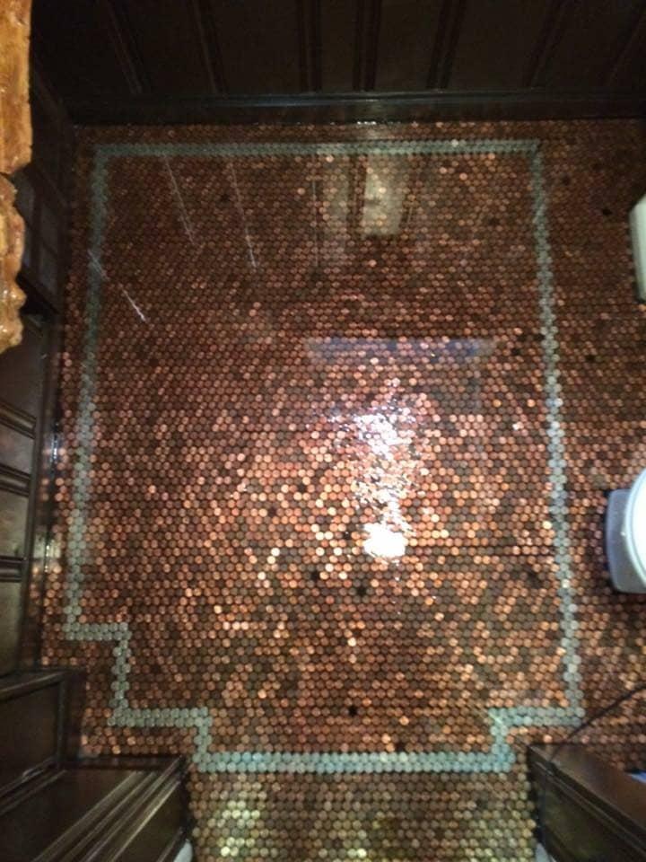 Carl's penny bathroom with nickel border