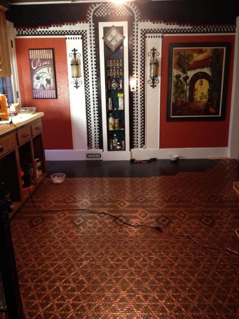 Patricia's kitchen has an elegant penny floor