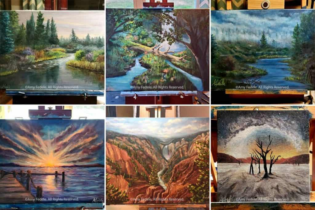 6 landscape paintings by Amy
