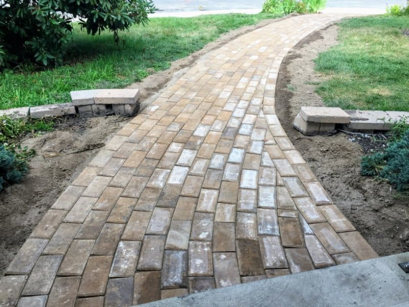 Brick paver walkway - After photo