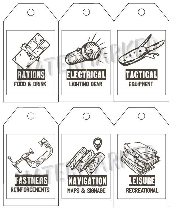 Printable labels and tags for fort kit