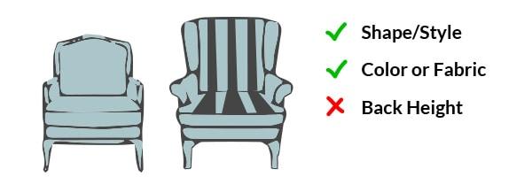 Similar shape/Style and similar color/fabric