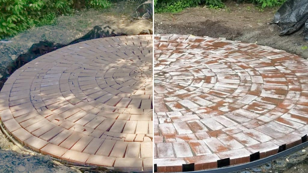 Faux Aged Brick Patio Before and After