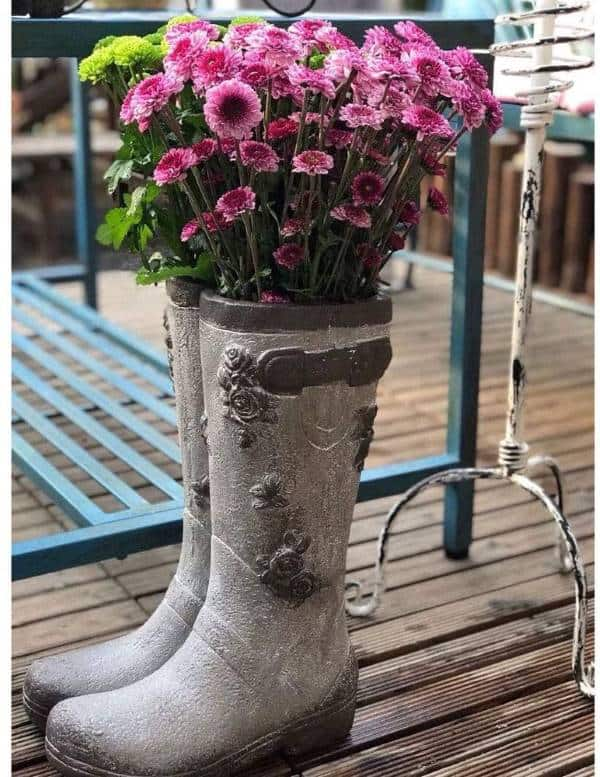 Concrete boot planter