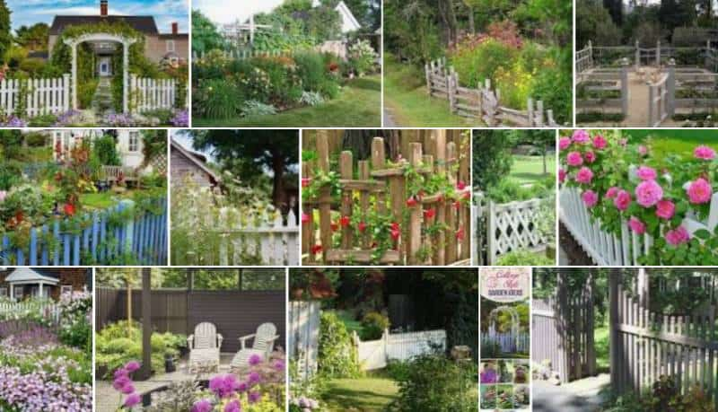 Collage of many different types of cottage garden fences