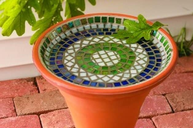 DIY Mosaic bird bath garden art project