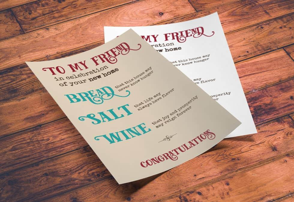 Printable New Home Blessing, Bread Salt Wine Poem,