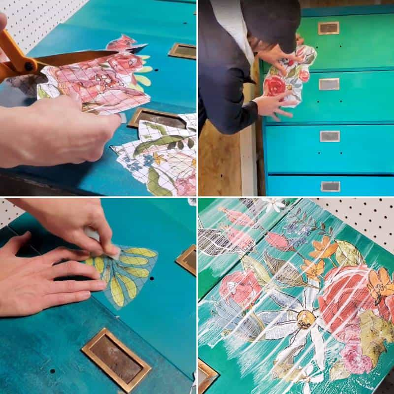 4 picture grid of stages of applying transfers to the filing cabinet