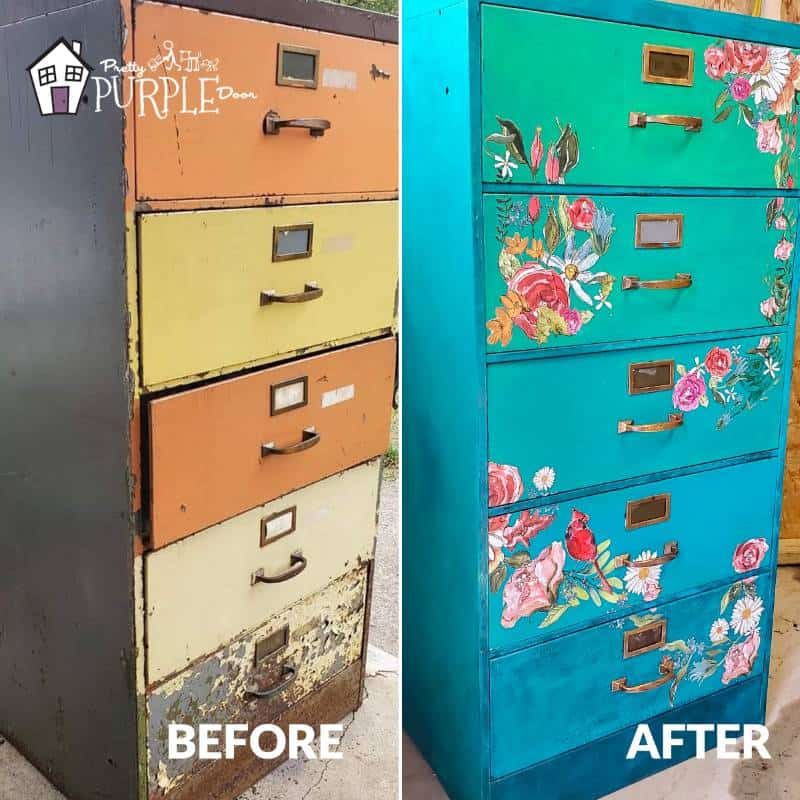 Filing Cabinet Makeover - Before and After view