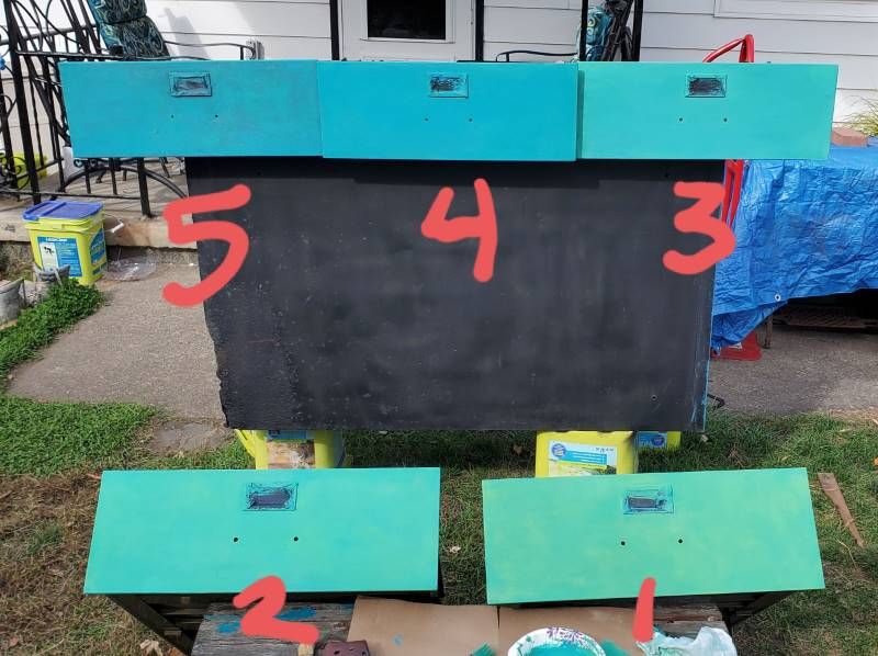 5 filing cabinet drawers, numbered from dark to light