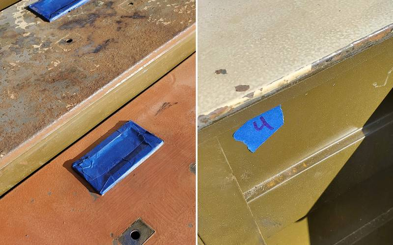 metal hardware taped off and painters tape used to number filing cabinet drawers