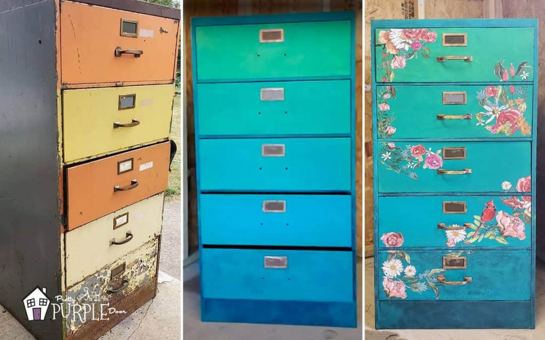 Orange and yellow rusty (before), painted green blue and floral print filing cabinets in a row