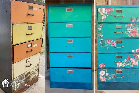 Filing Cabinet Makeover – From Rusty Hunk to Floral Masterpiece