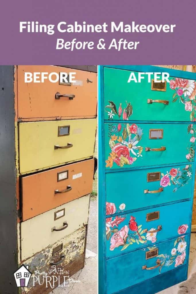 Before and After photos of Filing Cabinet tall vertical image for pinterest