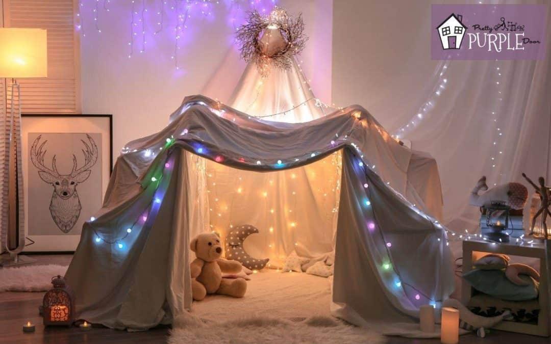 blanket fort with lights