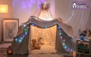blanket fort with lights