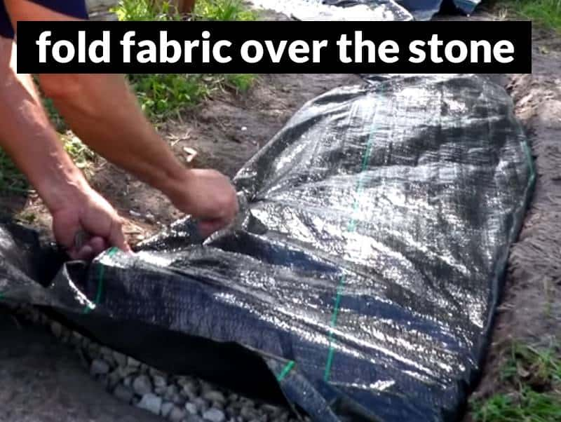 cover the stone inside the french drain with fabric